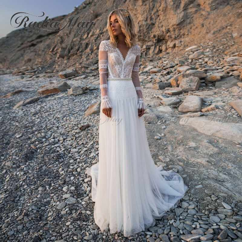 Vintage Lace Long Sleeves Bohemian Wedding Dresses 2020 Sexy V