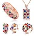Роскошные Королева Ювелирные Наборы Кристаллами От Swarovski Роуз Позолоченные Ожерелье Браслет Кольцо Серьги для Женщины Ювелирные Изделия Набор
