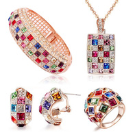 Luxury Queen Jewelry Sets Crystals From Swarovski 18K Rose Gold Plated Necklace Bangle Ring Earrings Set