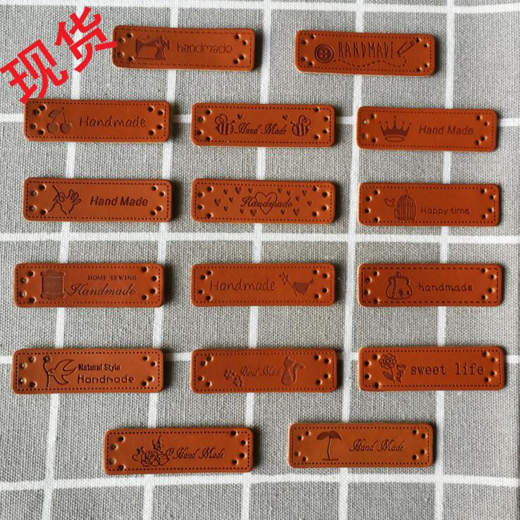 20pcs PU Leather Tags On Clothes Garment Labels DIY Clothing Sewing Patches For