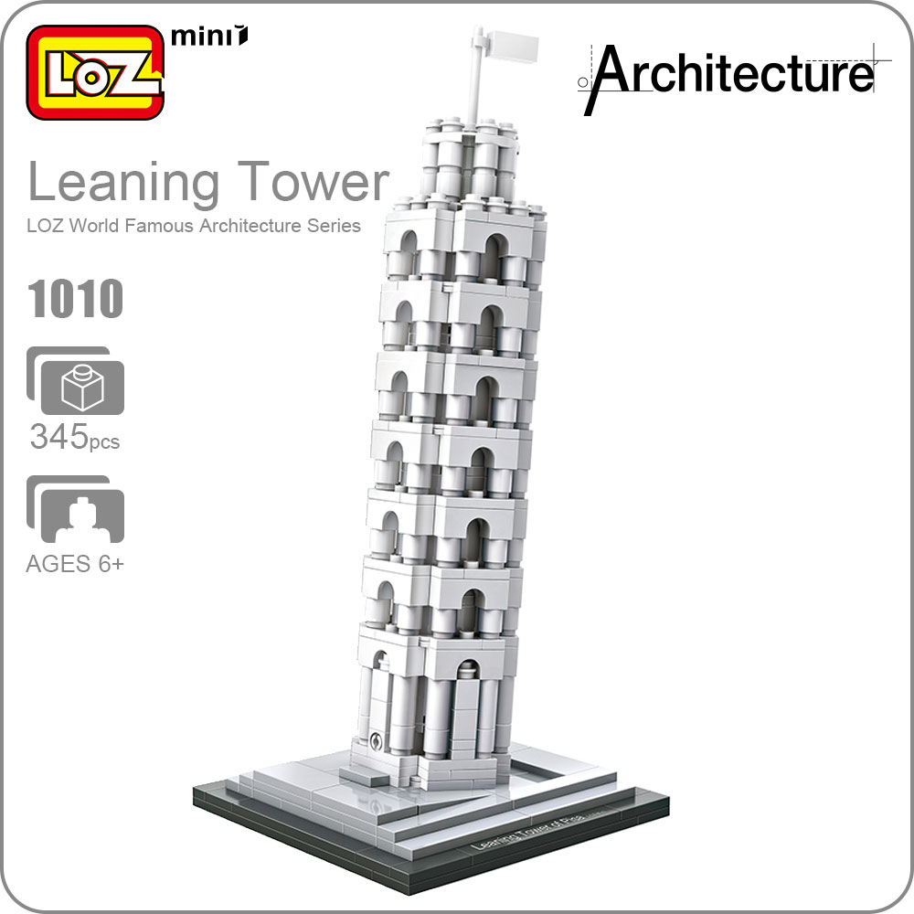 LOZ Blocks Architecture Toy The Leaning Tower of Pisa Model Educational Toys For Children DIY World Famous Building Model 1010 world famous architecture 1977pcs wange blocks golden gate bridge model building bricks set diy assembly toys for children 8023
