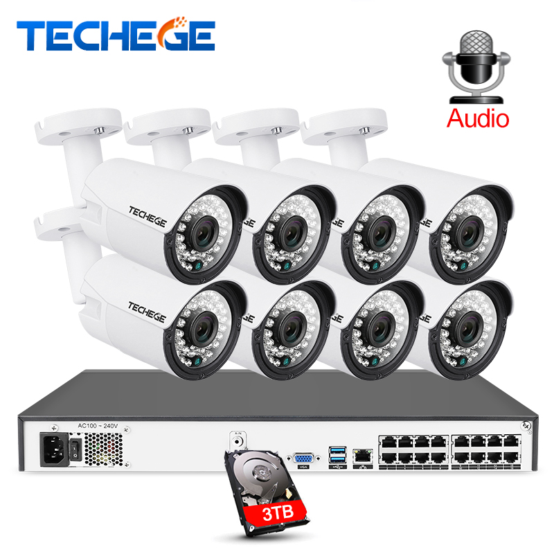 Techege 16CH 5MP POE NVR 2MP kit Telecamera Esterna 1080 P PoE IP Macchina Fotografica di Registrazione Audio Onvif FTP CCTV Sistema video di Sorveglianza Kit