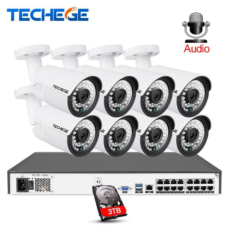 Techege 16CH 5MP POE NVR 2MP kit Caméra Extérieure 1080 P PoE Caméra IP Enregistrement Audio Onvif FTP système cctv Vidéo kit de surveillance