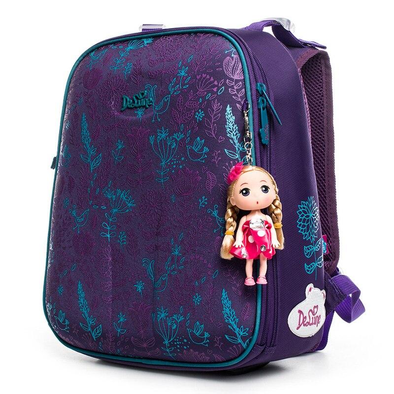 Delune Lavender Pattern School Bags For Girls Boys Children Orthopedic Backpacks Multi layer Backpack Mochila Infanti