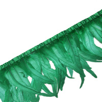 Wholesale 30 35CM green Cock tail feather trim Coque feather trimmed ribbon DIY dress skirt decoration accessories