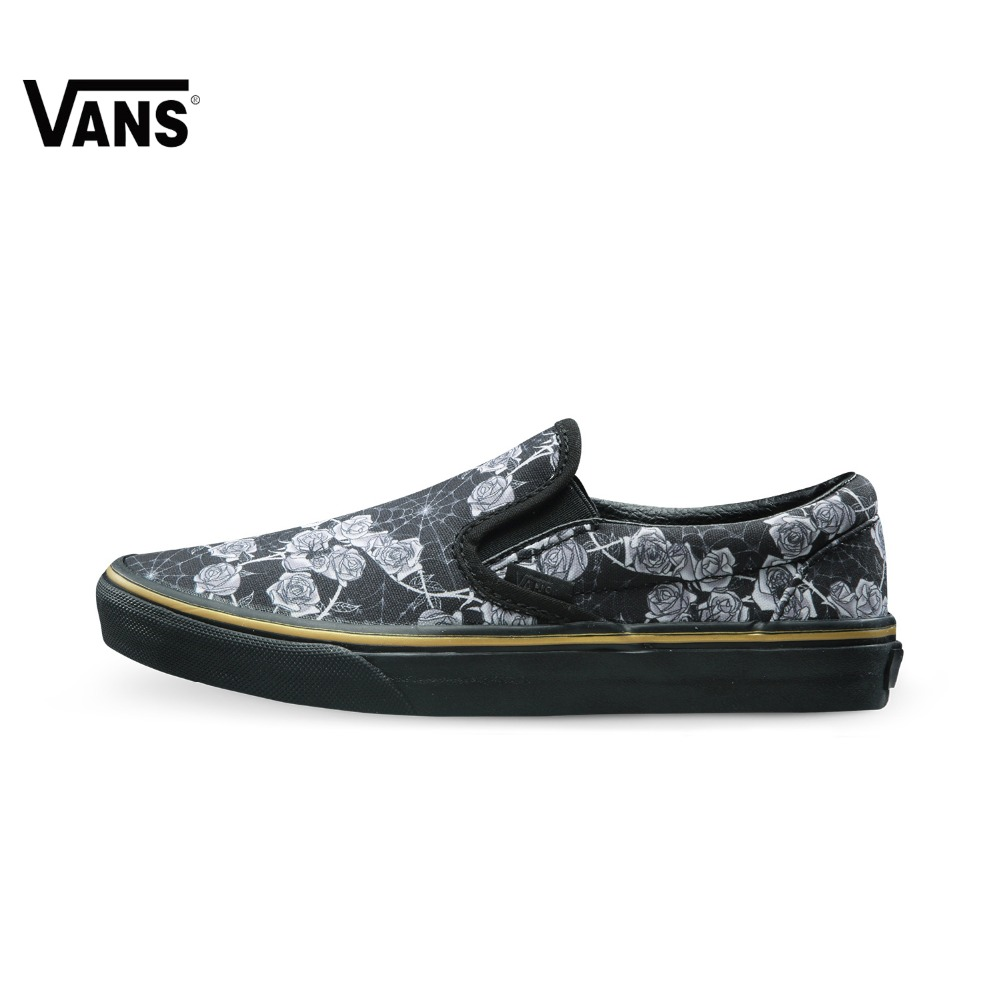 Original Vans Shoes New Black Flower Printed Low-Top Elastic Band Sport Skateboarding Shoes Punk Canvas Sport Shoes Sneakers original vans black and blue gray and red color low top men s skateboarding shoes sport shoes sneakers