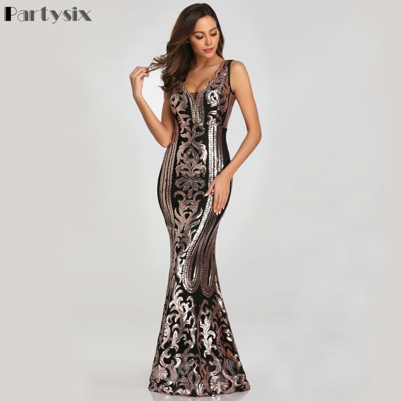 Partysix New Beading V neck Sequins Party Dress Sleeveless Formal Long Dresses Black Golden