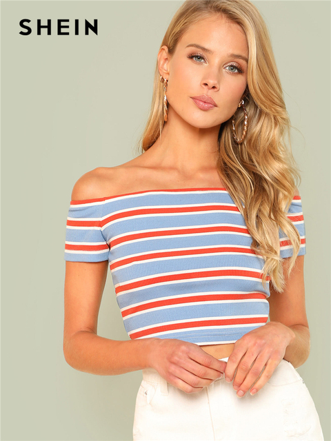 ebc2f93ca21 SHEIN Rib Knit Striped Bardot Tee Women Off The Shoulder Short Sleeve Slim  Crop T-