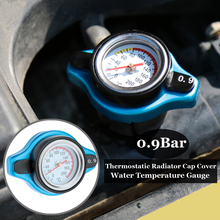 Aluminum Alloy 0.9 Bar Thermostatic Radiator Cap Cover Water Temperature Gauge