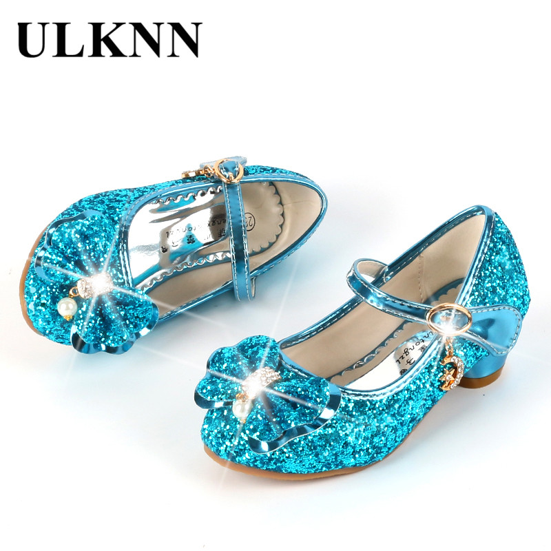 Image 3 - ULKNN Princess Kids Leather Shoes For Girls Flower Casual Glitter Children High Heel Girls Shoes Butterfly Knot Blue Pink Silver-in Leather Shoes from Mother & Kids