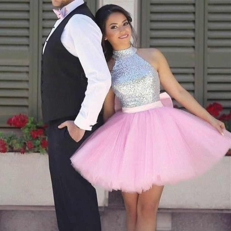 Encantador Rosa Curto Vestidos de Baile vestidos de Lantejoulas Halter Júnior Vestido Da Menina Formal do Regresso A Casa Barato Real Photo Robe De Soiree 2019