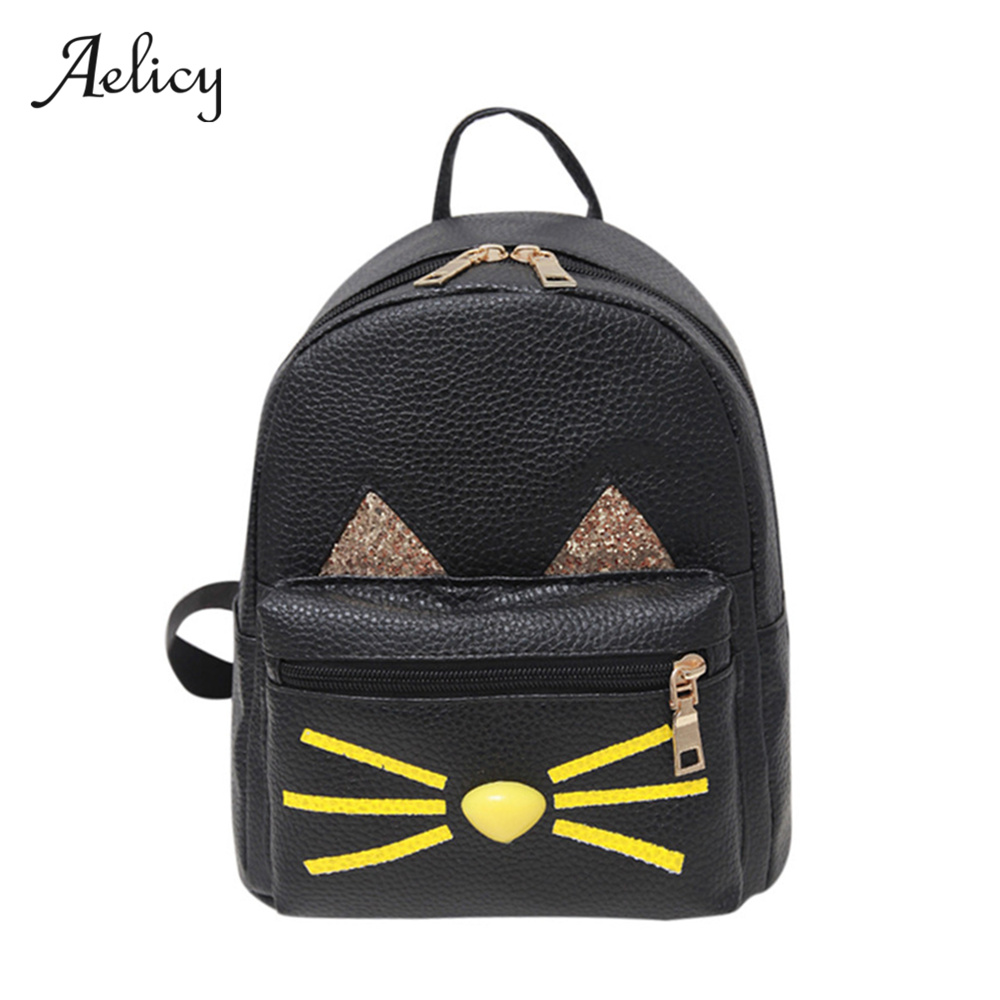 Aelicy High Quality Women Lovely Cat Backpack Printing Pu Leather Backpacks School Bag For Teenagers Ladies Cute Mochila Rugzak