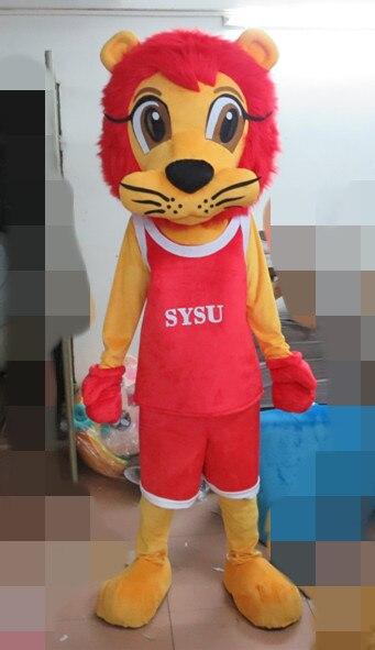 Offre spéciale Costume de mascotte Lion rouge Costume de personnage adulte