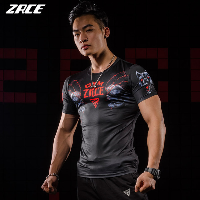 47600142b00 Mens Fitness 3D Prints Compression Shirt Funny Crossfit Summer Casual Tops  Fitness Homme Short sleeves Wolf Man T-shirt