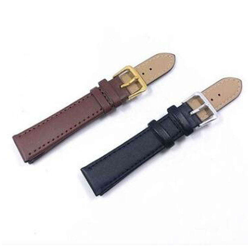 DOBROA New Watch Black Watchbands Leather Strap Watch Band 16mm 20mm Foldable Clasp Wristband Watch Accessories Wristbands