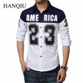 2017 New Arrival Men Shirt Long Sleeve Shirts Letter Printing Contrast Mens Cotton Button Up Slim Fit Shirt 5XL Asian Size