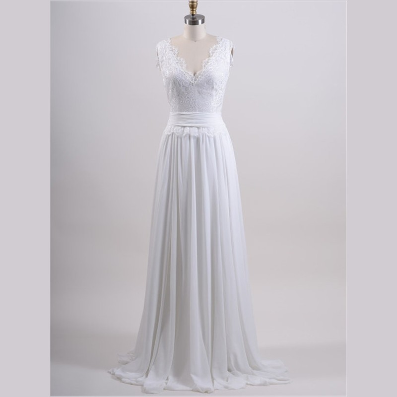 2015 Real Sample Simple Wedding Dress Chiffon A Line Sweep