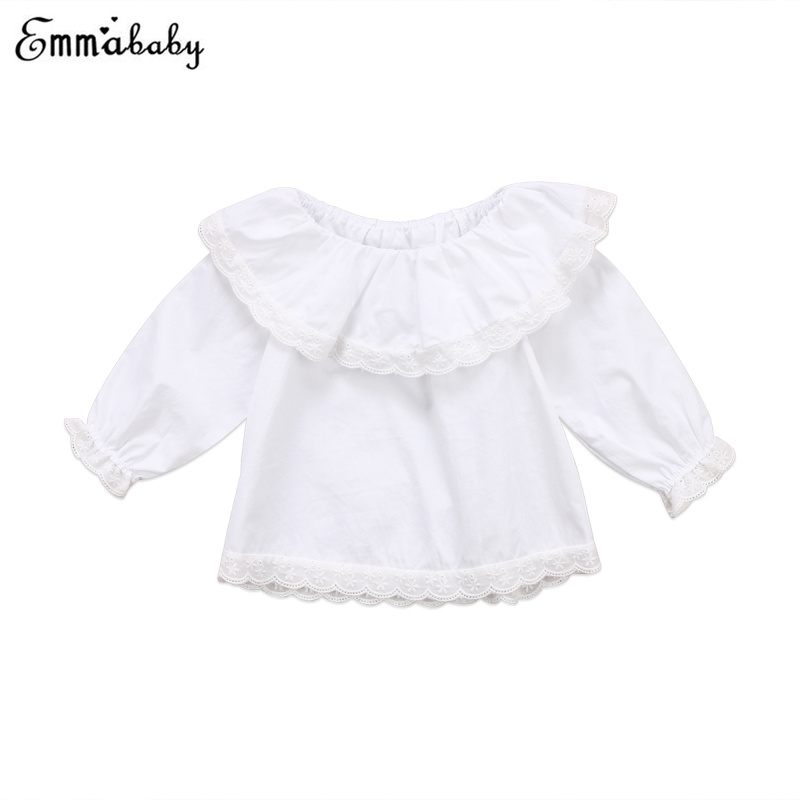 1-6T Kids Baby Girls Ruffle Long Sleeve Tops Tee Shirt Blouse Clothes Costume US