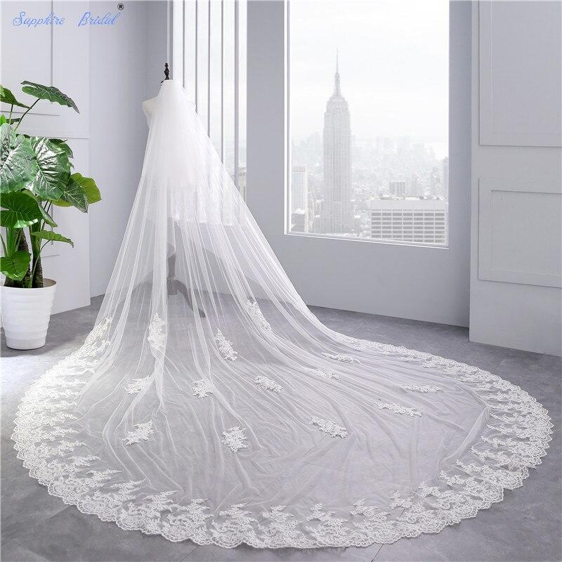 Saphir mariée 2018 nouveaux accessoires De mariage Long voile cathédrale blanc ivoire dentelle bord mariage voile pour mariées Velo De Novia