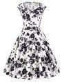 Invierno de las mujeres vestido de 2017 v-cuello de la flor de lunares patrón de algodón retro de la vendimia partido picnic vestido corto floral 60 s 50 s vestidos