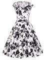 Mulheres vestido de inverno 2017 v-neck flor teste padrão de bolinhas de algodão retro festa picnic vestido curto floral do vintage 60 s 50 s vestidos