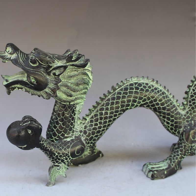 EXQUISITE COLLECTIBLES DECORATED HANDWORK BRONZE CARVING DRAGON WONDERFUL STATUE