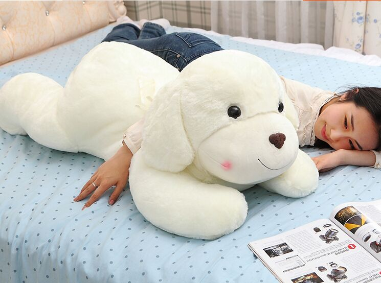 large 100cm prone dog doll , white dog plush toy soft throw pillow Christmas birthday gift ,d2936 fancytrader 120cm super lovely jumbo plush shar pei dog toy large dog doll sleeping pillow gift for child free shipping ft50048