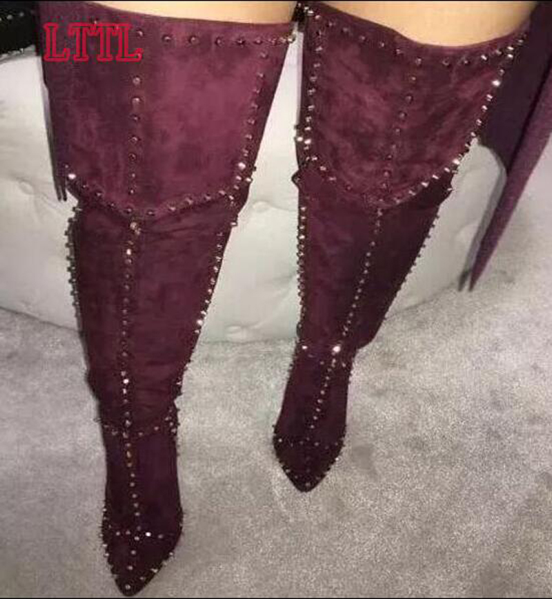 Hot Sale Women Sexy Pointed Toe Suede Leather Over Knee Spike High Heel Boots Stiletto Heel Long Rivet Gladiator Boots Sexy Shoe
