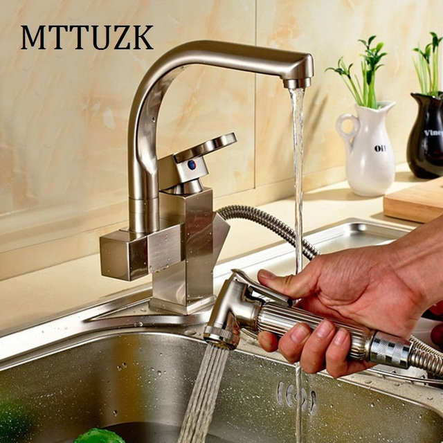 Free Shipping!Multifunction Pull Out Spray Kitchen Faucet Removable Mixer 2 Function Tap With guns brushed nickle Kitchen Mixer