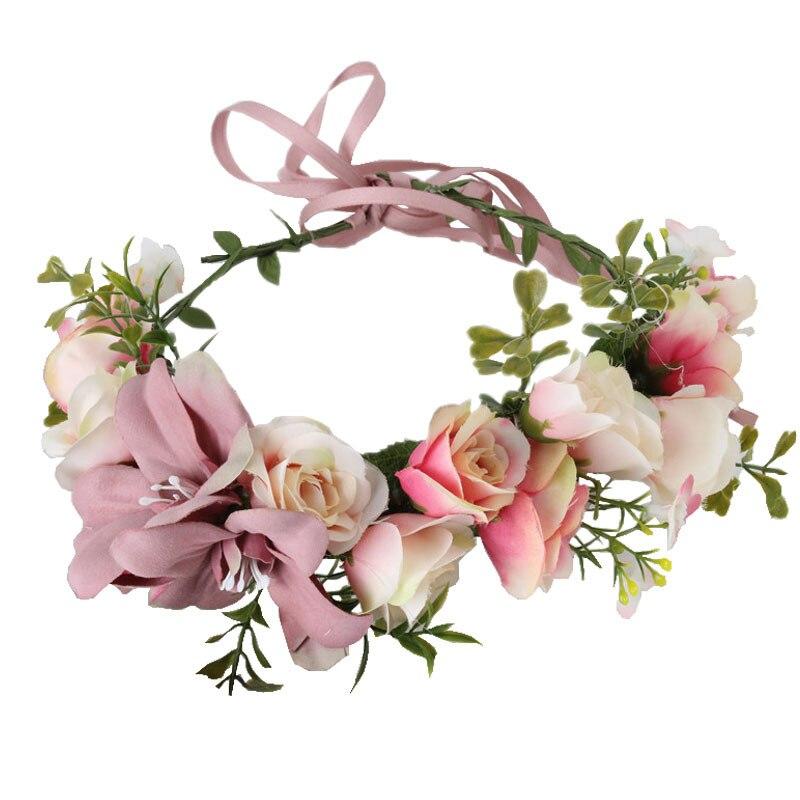 Women Girl Rose Flower Crown Wreath Wedding Bridal Artificial Lily Flower Headband Tiara Hair Floral Hair band Hair accessories