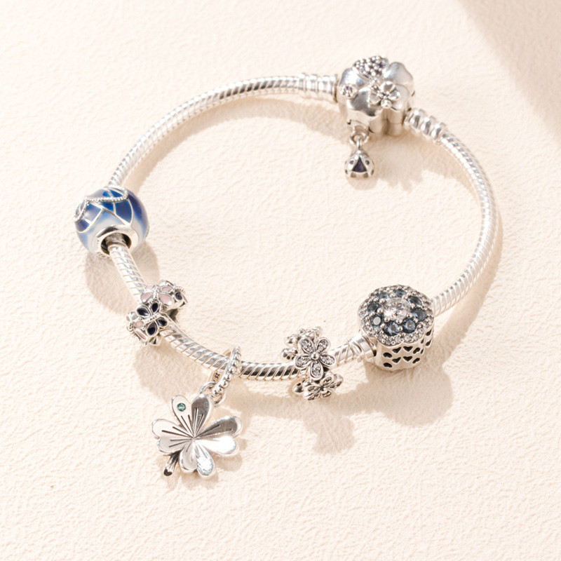 Original 925 Sterling Silver Bead Charm Lucky Four leaf Clover Set Beads Women Pandora Bracelet Bangle Diy Jewelry
