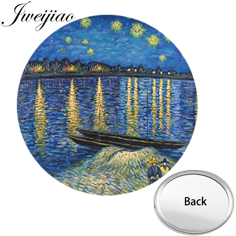 JWEIJIAO Van Gogh Famous Painting Mini One Side Flat Round Pocket Mirror Starry Night Portable Makeup Vanity Hand Mirrors