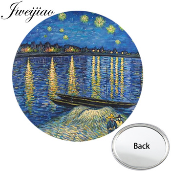 JWEIJIAO Van Gogh słynny obraz Mini z jednej strony płaskie okrągłe kieszonkowe lusterko gwiaździstej nocy przenośne akcesoria do makijażu Vanity lusterka ręczne tanie i dobre opinie Lustro do makijażu NS387 1 Glass Plastic About 70 mm in Diameter 2-face Nie posiada Famous Painting One side Makeup Mirror