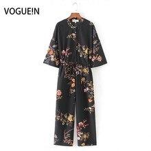 VOGUEIN New Womens Casual Black Floral Print Half Sleeve Jum