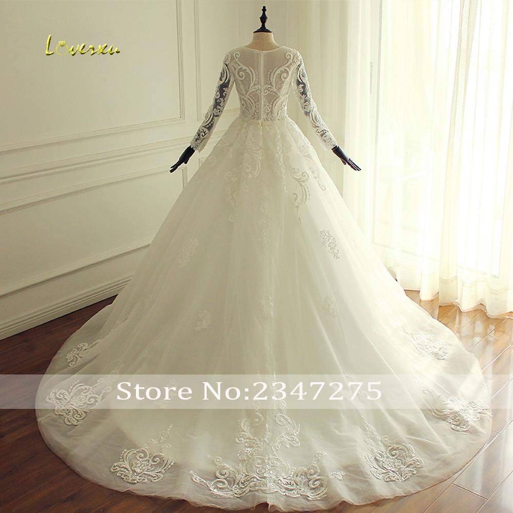 Loverxu Vestido De Noiva Long Sleeve Princess Wedding Dresses 2019 Illusion  Appliques Beaded Lace A Line ... 51127c9ea90e