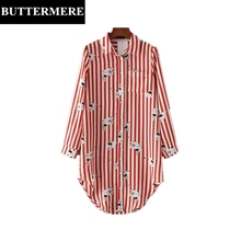 Buttermere Brand 2017 Women Blouses Top Red white Striped Bird Printed Patchwork Fashion Long Sleeve Button Long Shirt Blusas