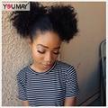 Предварительно Сорвал 360 Кружева Фронтальная Закрытие 7А Монгольские Afro Kinky Фигурные 360 Кружева Девы Волос С Отбеленные Узлы Естественной Границе Волос