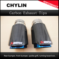 Free Shipping 2PCS Akrapovic Car Bright Carbon Fiber Exhaust End Pipes Single Muffler Tips