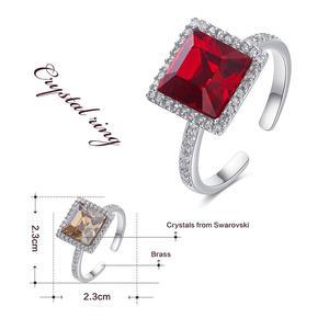 Image 4 - Centrum rozwoju przedsiębiorczości kwadratowy geometryczny pierścień ozdobione kryształy Swarovskiego pierścionki otwarte dla kobiet ślub pierścionki zaręczynowe biżuteria
