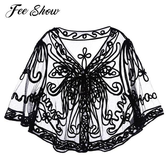 Alta calidad mujer media manga cuello en V transparente suave encaje Floral bordado encogimiento de hombros Tops moda cubrir parte delantera abierta Cardigan secreto