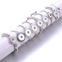 Nova moda pulseiras de corrente ajustável metal snap pulseira ajuste 18mm/12mm snap botões diy snap jóias para mulher