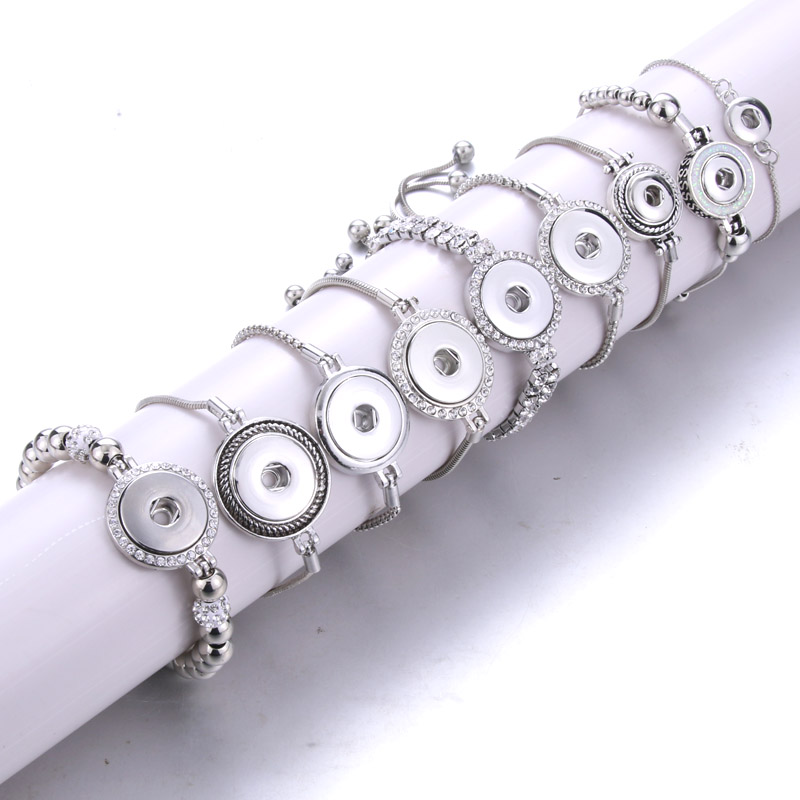 New Fashion Adjustable Chain Bracelets Metal Snap Bracelet Fit 18MM /12MM Snap Buttons DIY Snap Jewelry For Women image