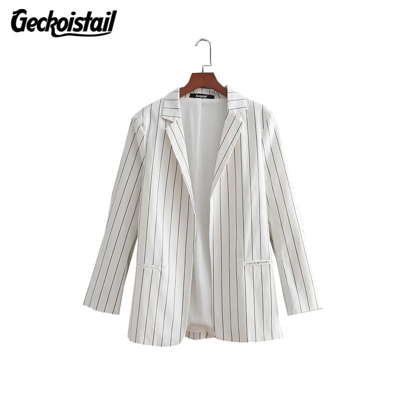 Geckoistail 2018 Spring Slim Fit Blazer Women Striped Casual Formal Jackets Office Work Open Front Notched Blazer Ladies Blazer