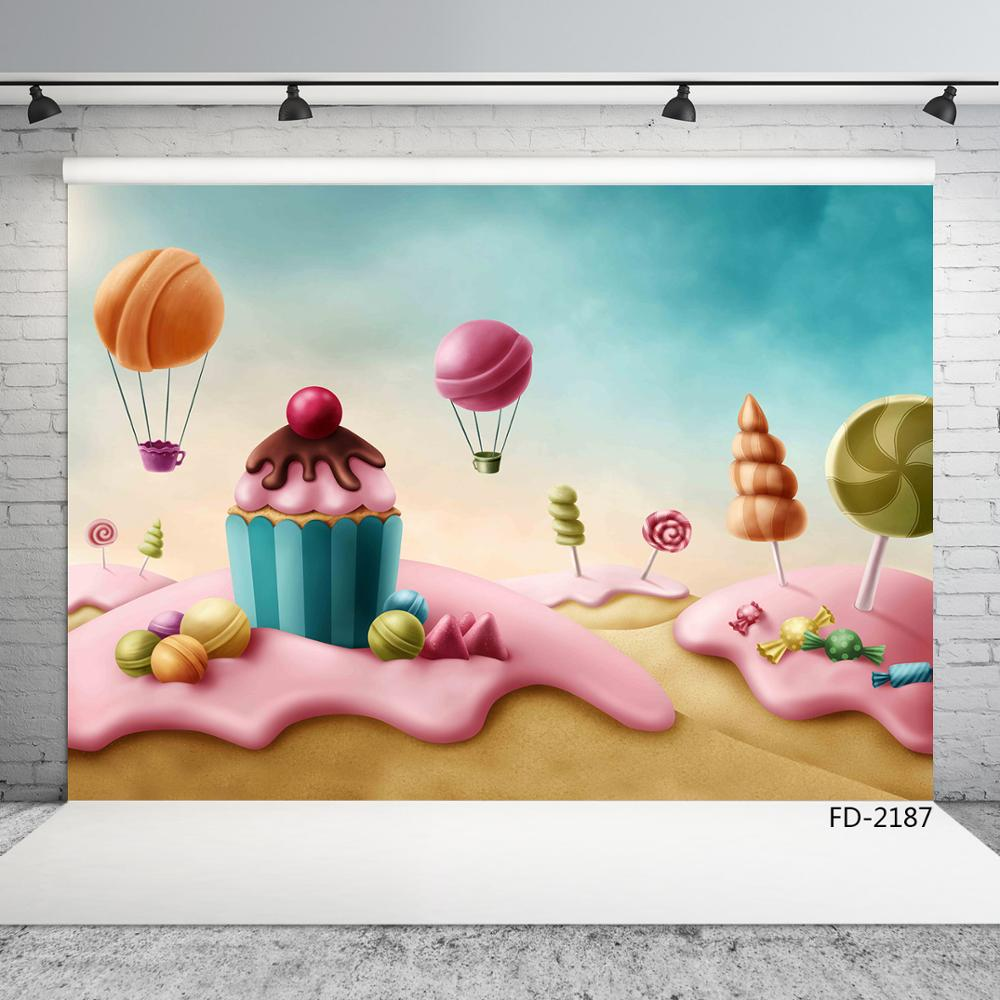 Candy Cake Sweet Birthday Party Photography Backdrops For Photo Booth Children Baby Shower Vinyl Photo Backgrounds Photophone