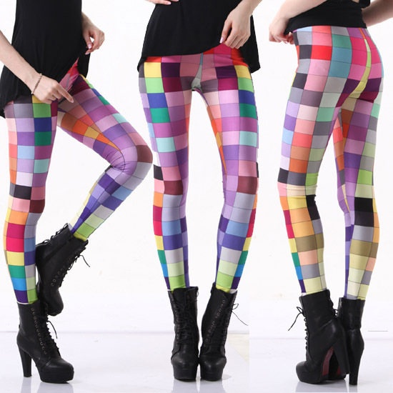 Spandex Pecil pants New 2015 women Colorful Plaid patterned ...