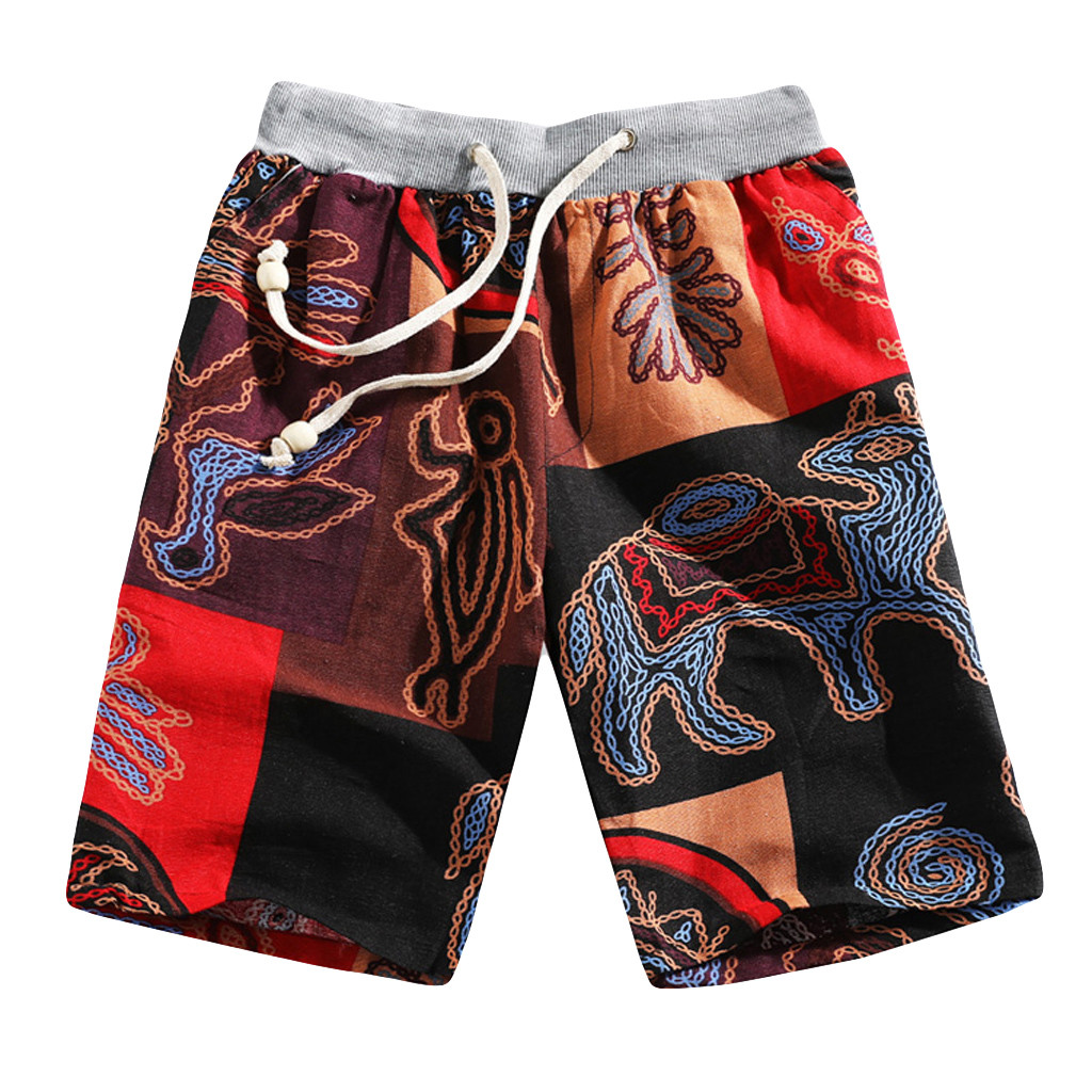 Men's Summer Fashion Casual Ethnic Style Printed Loose Linen Beach Shorts Pants Summer Draw String Elastic Waist Shorts 2019 New