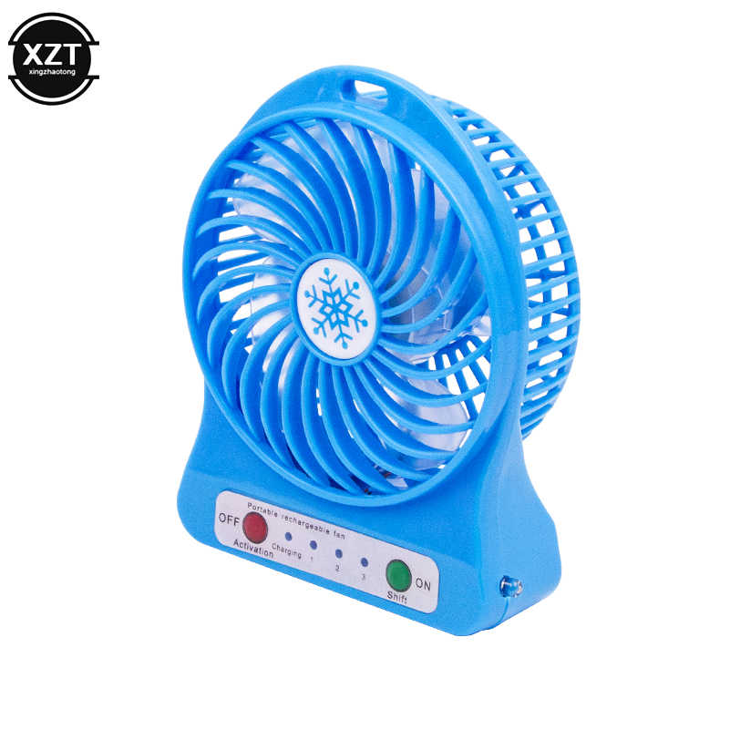 Draagbare Mini USB Fan Hand Held Bureau Luchtkoeler Stille Reizen Bevochtiging Cooler Cooling Fan LED Light 18650 Batterij Fan