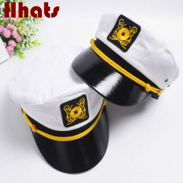 dad0a87dbba which in shower white embroidery military hat family adjustable army  captain cap women men navy sailor chapeau retro police bone