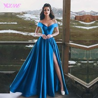 Yqlnne 2018 с плеча длинное вечернее платье Синий Атлас Кружево со шнуровкой сзади Праздничное платье халат De Soiree