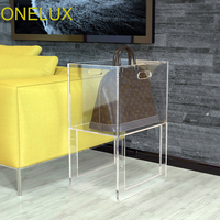 Custom Made Acrylic Storage Basket For Clothing /Bags, Lucite Living Room Storage Rack 30W 40D 61H CM